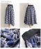 2wayデザインのチェックとプリーツのフレアスカート