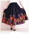 裾パッチワーク柄サーキュラーロング丈スカート