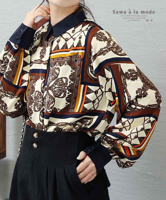 スカーフ柄が素敵なヴィンテージシャツトップス【12月17日8時販売新作】