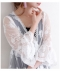 花刺繍フレア袖のシースルーカーディガン