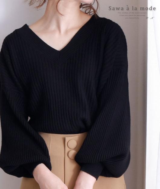 シンプルなぽわん袖のリブニットトップス