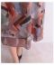 シックなリーフ模様の半袖フレアワンピース