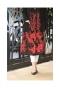 煌く赤い刺繍のロング丈ボアコート