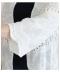 レース切替えのスカラップ裾カーディガン