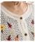 花刺繍とシフォン袖のニットカーディガン