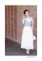 純白なお花の刺繍フレアスカート