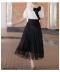 飾りボタンのロング丈チュールスカート