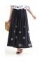 お花刺繍の綿麻混合フレアスカート